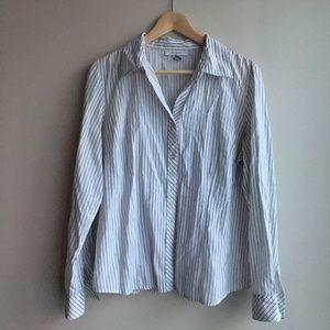 Dress barn striped long sleeve button down shirt